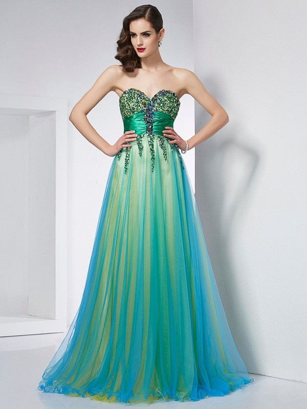 Ball Gown Sweetheart Elastic Woven Satin,Net Sleeveless Sweep/Brush Train Dresses