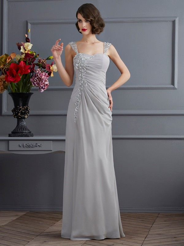 Trumpet/Mermaid Straps Chiffon Sleeveless Floor-Length Dresses