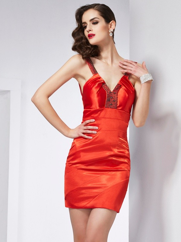 Sheath/Column V-neck Elastic Woven Satin Sleeveless Short/Mini Dresses