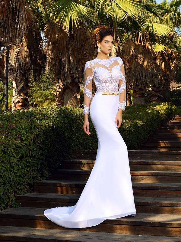 Sheath/Column Scoop Satin Long Sleeves Court Train Wedding Dresses