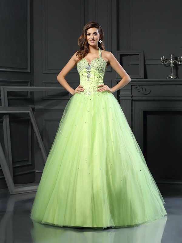 Ball Gown Halter Satin Sleeveless Floor-Length Prom Dresses