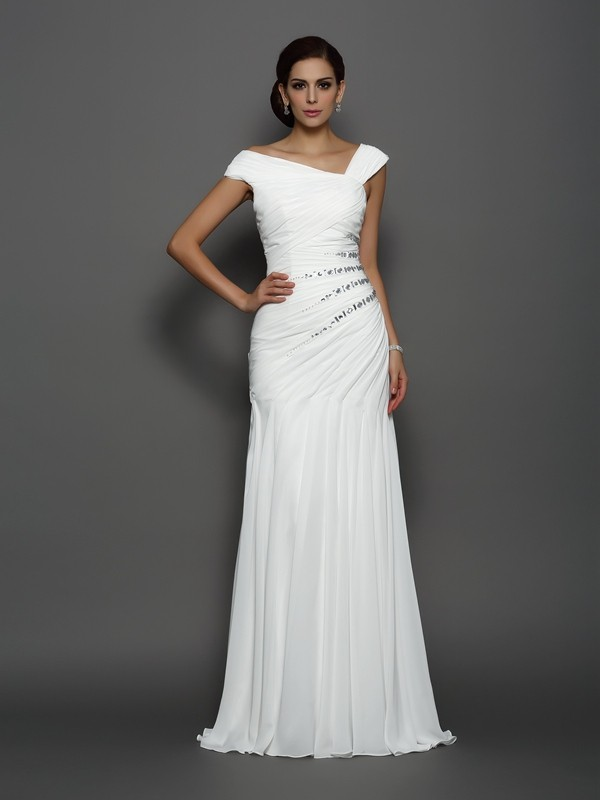 Trumpet/Mermaid Chiffon Sleeveless Sweep/Brush Train Evening Dresses