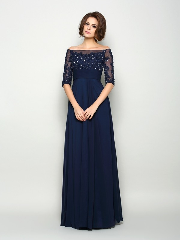 A-Line/Princess Off-the-Shoulder Chiffon 1/2 Sleeves Floor-Length Mother of the Bride Dresses