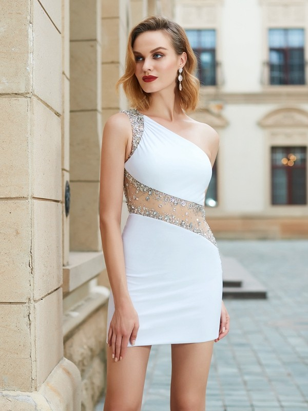 Sheath/Column One-Shoulder Net Sleeveless Short/Mini Homecoming Dresses