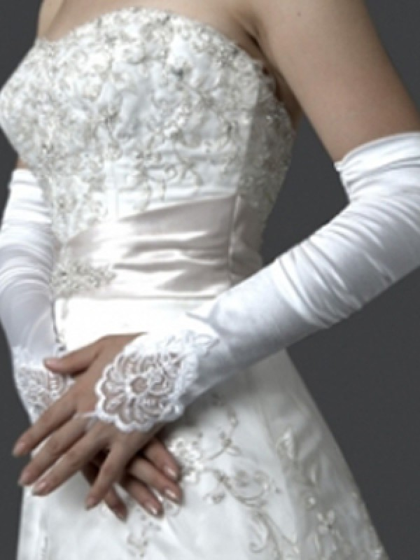 Elastic Satin Embroidery Elbow Gloves