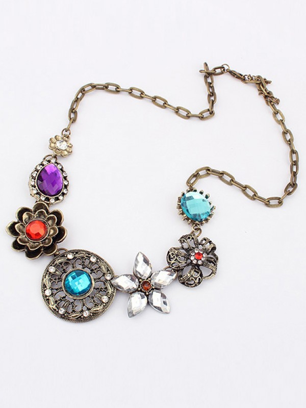 Occident Gorgeous Retro Exquisite Flowers with diamonds Hot Sale Necklace