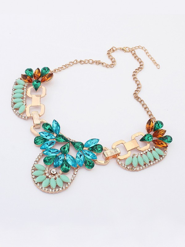 Occident Personality Hyperbolic Metallic with diamonds Hot Sale Necklace