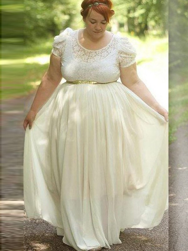 A-Line/Princess Scoop Chiffon Short Sleeves Floor-Length Plus Size Dresses