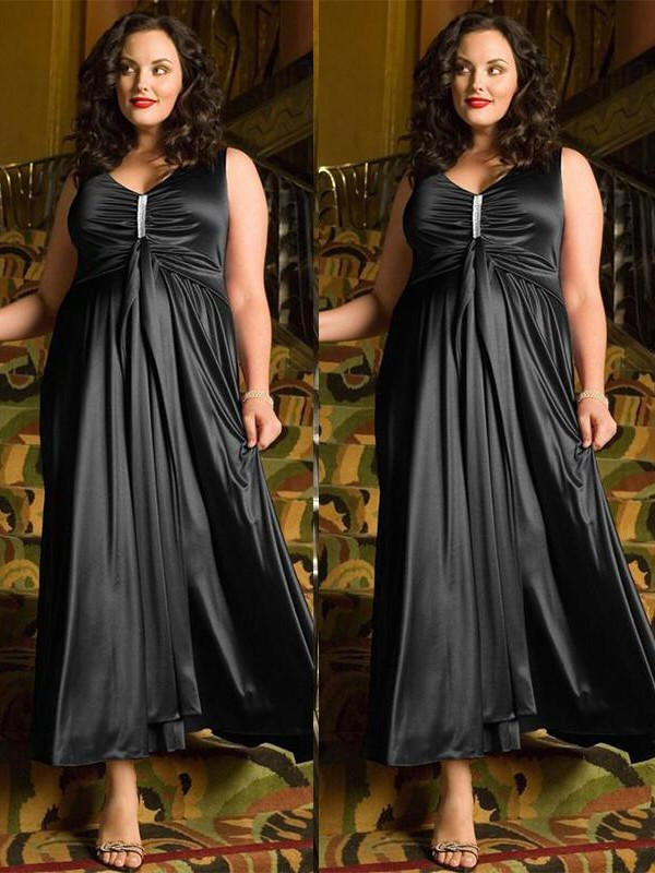 A-Line/Princess V-neck Elastic Woven Satin Sleeveless Ankle-Length Plus Size Dresses