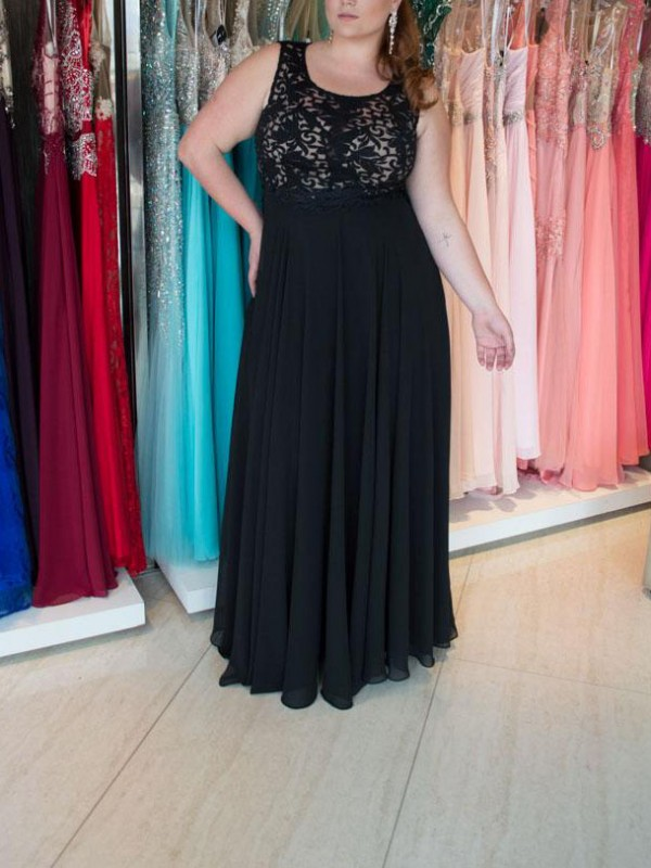 A-Line/Princess Straps Chiffon Sleeveless Floor-Length Plus Size Dresses