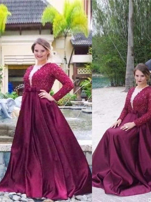 A-Line/Princess V-neck Satin Long Sleeves Sweep/Brush Train Plus Size Dresses