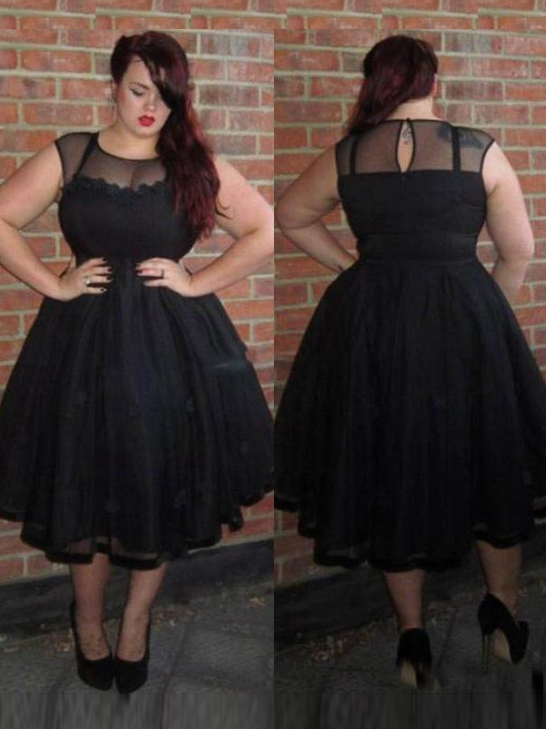 A-Line/Princess Scoop Tulle Sleeveless Ankle-Length Plus Size Dresses