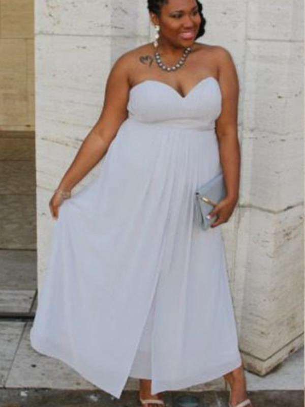 A-Line/Princess Sweetheart Chiffon Sleeveless Ankle-Length Plus Size Dresses