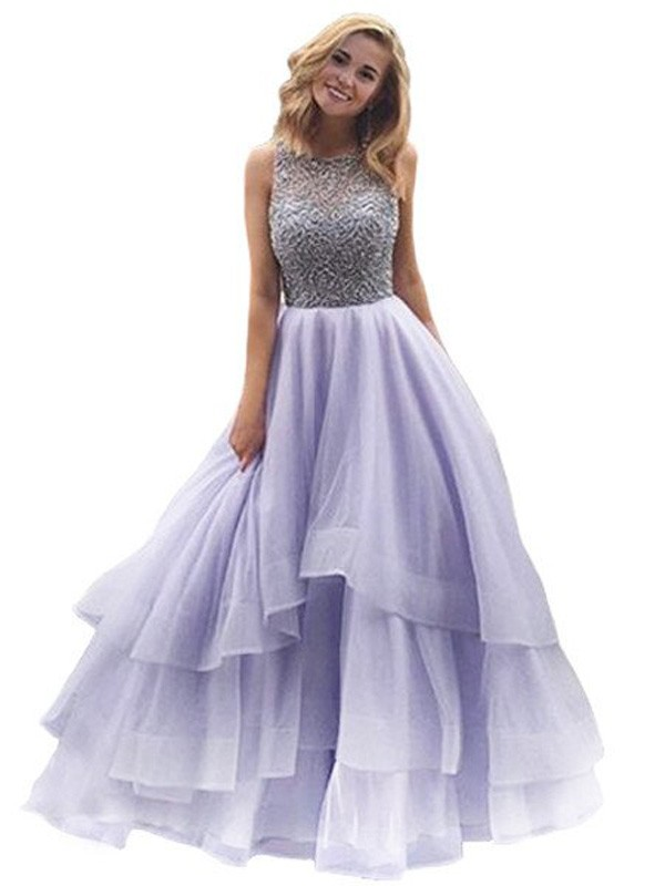 Ball Gown Scoop Organza Sleeveless Floor-Length Dresses