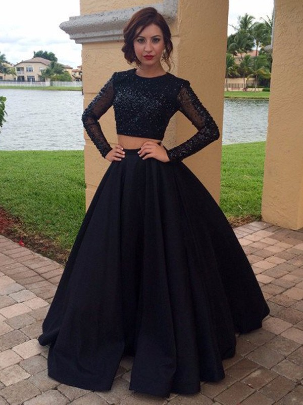 Ball Gown Scoop Satin Long Sleeves Floor-Length Two Piece Dresses