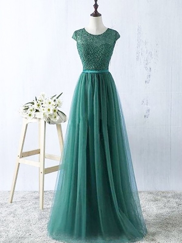 A-Line/Princess Scoop Tulle Sleeveless Floor-Length Dresses