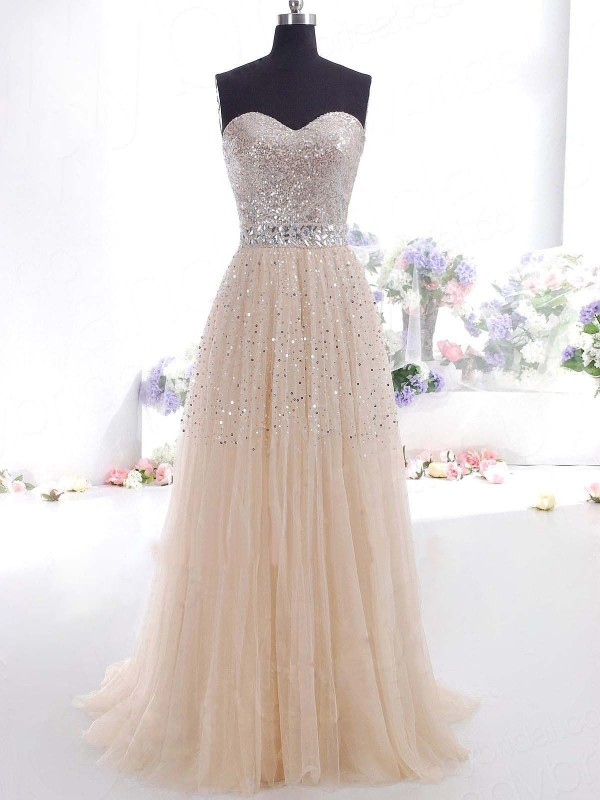 A-Line/Princess Sweetheart Tulle Sleeveless Floor-Length Dresses