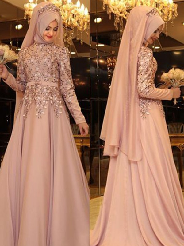 A-Line/Princess High Neck Chiffon Long Sleeves Floor-Length Dresses