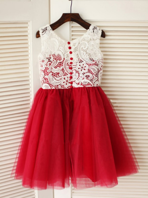 A-Line/Princess Scoop Tulle Sleeveless Knee-Length Little Girl Dresses