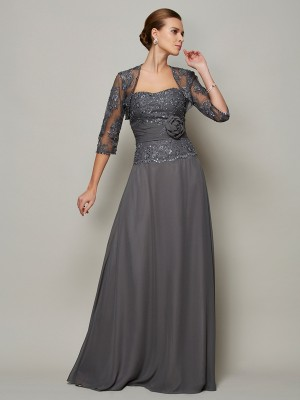 A-Line/Princess Sweetheart Chiffon Sleeveless Floor-Length Mother of the Bride Dresses