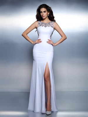 Trumpet/Mermaid Bateau Chiffon Sleeveless Floor-Length Dresses