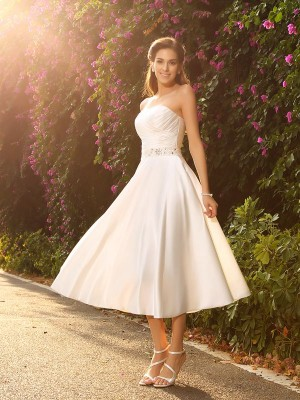 A-Line/Princess Sweetheart Satin Sleeveless Tea-Length Wedding Dresses