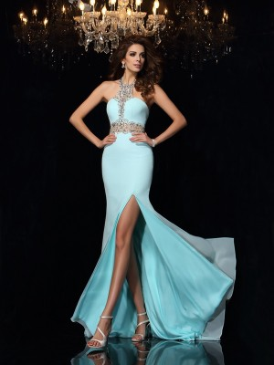 Sheath/Column High Neck Chiffon Sleeveless Sweep/Brush Train Prom Dresses