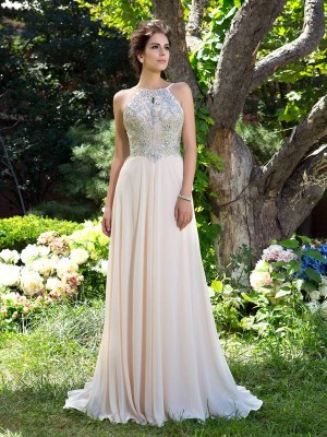 A-Line/Princess Spaghetti Straps Chiffon Sleeveless Sweep/Brush Train Prom Dresses