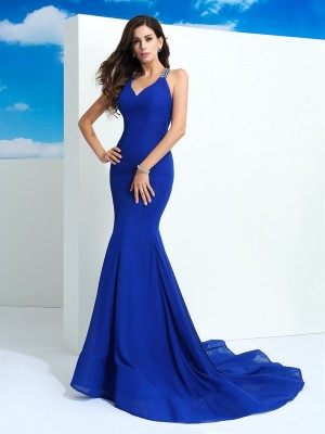 Sheath/Column Straps Chiffon Sleeveless Court Train Prom Dresses