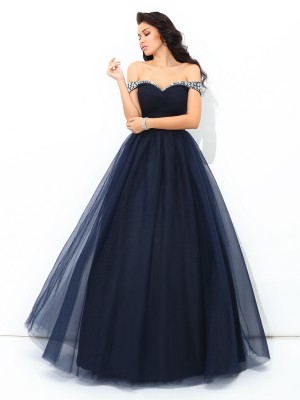 Ball Gown Off-the-Shoulder Net Sleeveless Floor-Length Quinceanera Dresses