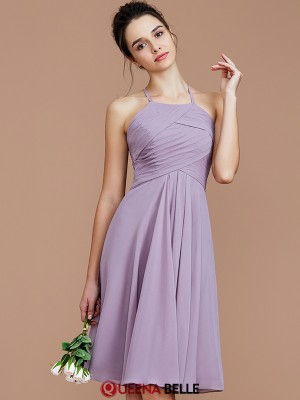 A-Line/Princess Halter Chiffon Sleeveless Short/Mini Bridesmaid Dresses