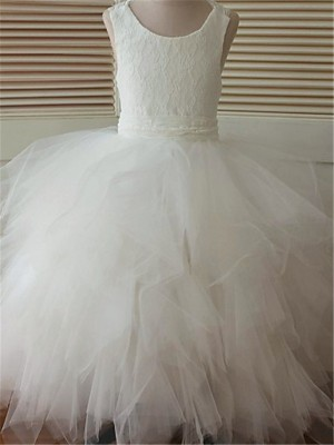Ball Gown Scoop Organza Sleeveless Ankle-Length Flower Girl Dresses