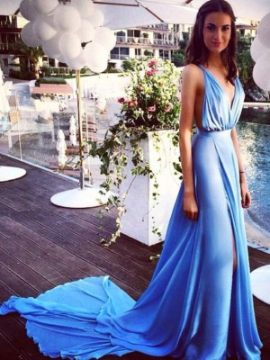 A-Line/Princess Spaghetti Straps Chiffon Sleeveless Court Train Dresses