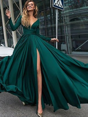 A-Line/Princess V-Neck Satin Chiffon Long Sleeves Floor-Length Dresses