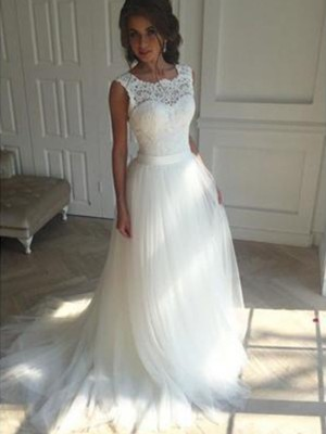 A-Line/Princess Square Tulle Sleeveless Court Train Wedding Dresses