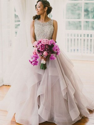 Ball Gown Scoop Tulle Sleeveless Sweep/Brush Train Wedding Dresses
