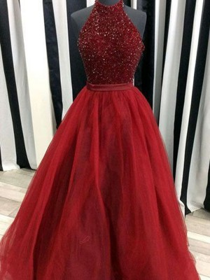 Ball Gown High Neck Organza Sleeveless Floor-Length Dresses
