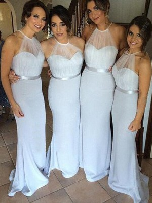 Sheath/Column Halter Elastic Woven Satin Sleeveless Floor-Length Bridesmaid Dresses