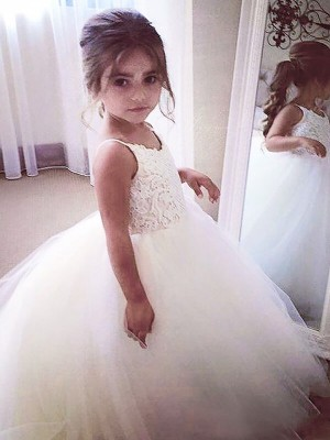 Ball Gown Jewel Tulle Sleeveless Floor-Length Flower Girl Dresses