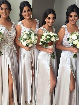 Sheath/Column V-neck Silk like Satin Sleeveless Floor-Length Bridesmaid Dresses
