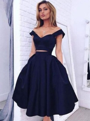 A-line/Princess Off-the-Shoulder Taffeta Sleeveless Tea-Length Two Piece Dresses