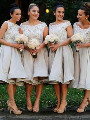 A-Line/Princess Off-the-Shoulder Chiffon Sleeveless Knee-Length Bridesmaid Dresses