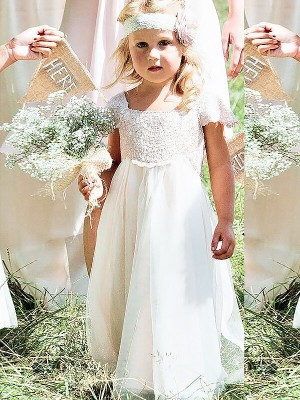 A-line/Princess Square Chiffon Short Sleeves Floor-Length Flower Girl Dresses