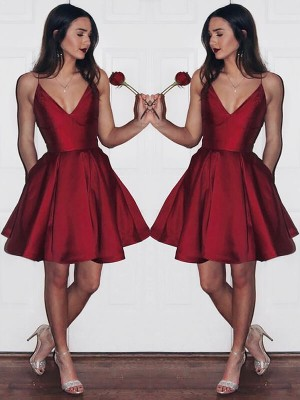 A-line/Princess V-neck Satin Sleeveless Short/Mini Dresses