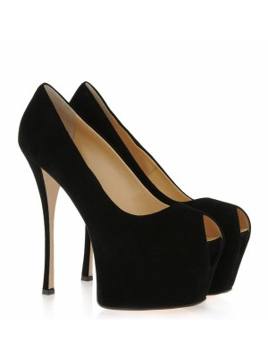 Women's Suede Stiletto Heel Peep Toe Platform High Heels