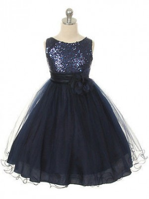 Ball Gown Jewel Organza Sleeveless Tea-Length Little Girl Dresses