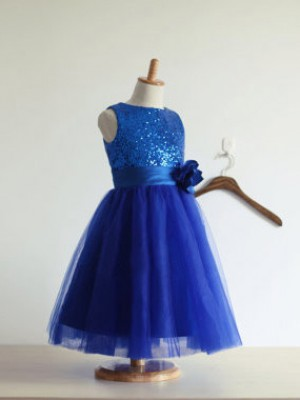 A-Line/Princess Jewel Tulle Sleeveless Tea-Length Little Girl Dresses