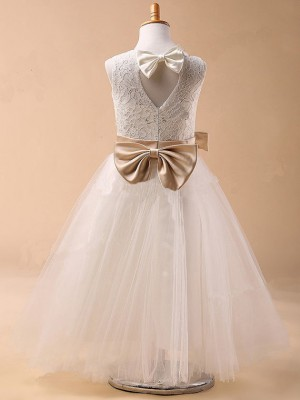 Ball Gown Jewel Tulle Sleeveless Tea-Length Little Girl Dresses