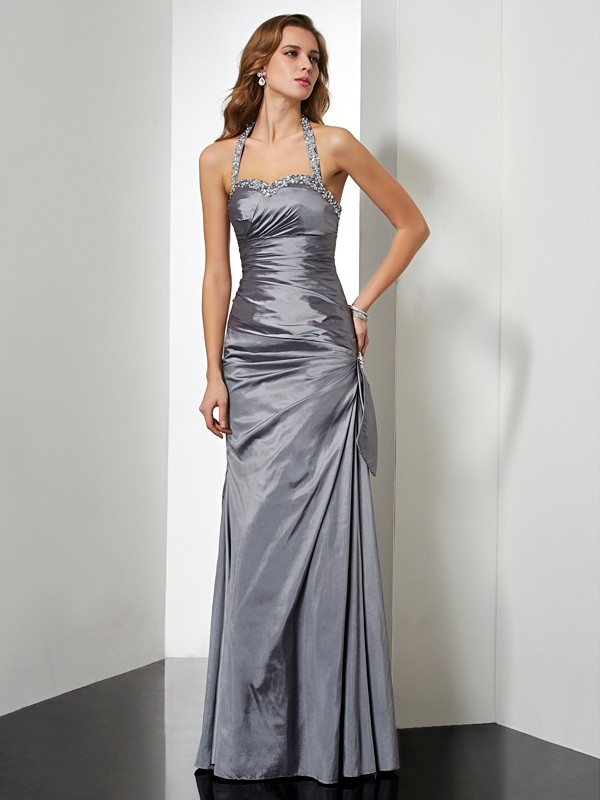 Trumpet/Mermaid Halter Taffeta Sleeveless Floor-Length Dresses