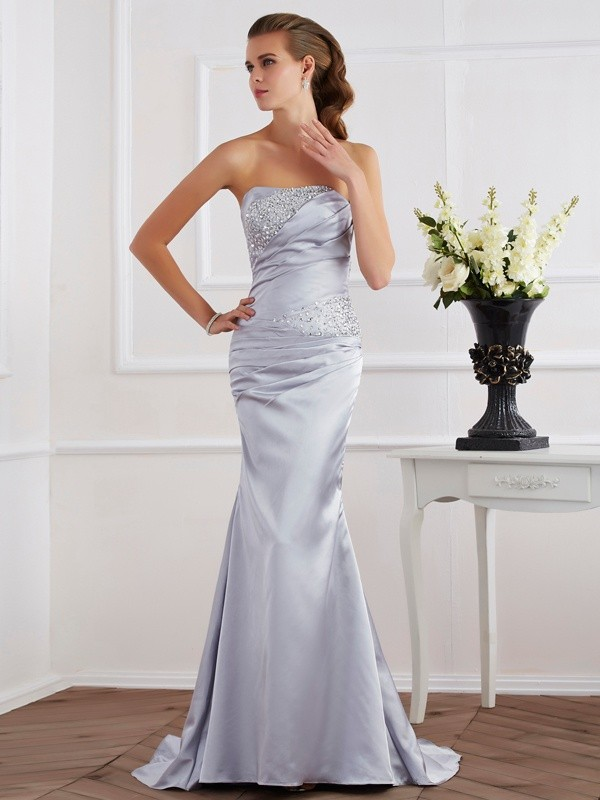 Trumpet/Mermaid Strapless Elastic Woven Satin Sleeveless Sweep/Brush Train Dresses